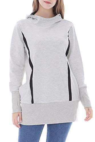 Smallshow Women's Nursing Hoodie Sweatshirt Zipper Breastfeeding Tops Shirt Large Light Grey