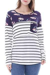 Smallshow Women's Long Sleeve Striped Maternity Nursing Tops for Breastfeeding Large SVP030