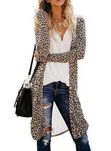 Chase Secret Womens Long Sleeve Cardigan Tops Casual Printed Loose Outwear Cardigans Coats M Leopard