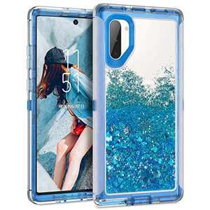 Dexnor Compatible with Samsung Galaxy Note 10 Case Glitter Clear Hard PC 3D Flowing Liquid Cover TPU Silicone Shockproof Protective Heavy Duty Defender Bumper for Girls Women Blue