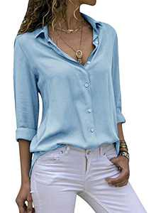 Yidarton Women's Long Sleeve V Neck Chiffon Blouses Tops Button Down Business Shirts(Sky Blue,XL)