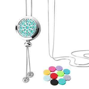 GoorDik Essential Diffuser Necklace Aromatherapy Stainless Steel Locket with 10PCS Felt Pads