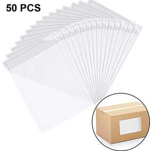 50 Pieces Clear Self Adhesive Label Pouches Shipping Label Envelope Top Loading Packing List (8.86 x 5.9 Inch)
