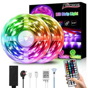 LED Strip Lights 10M, SOLMORE 5050 RGB Led Light Strip 5Mx2, Multicolor Mood Lights with 300 LEDs, IP65 Waterproof, DIY with Remote Control, LED Strips for Room Ceiling Indoors/Outdoors