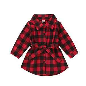 Kids Little Boys Girls Long Sleeve Button Down Red Plaid Flannel Shirt Dress with Belt (3-4T, Red Plaid Shirt Dress)