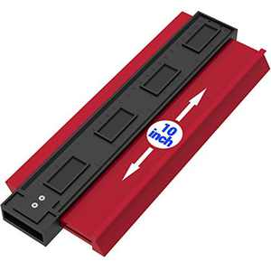 Asgens Plastic Contour Gauge Duplicator, 10 Inch Profile Gauge Measure Ruler Contour Duplicator for Precise Measurement Tiling Laminate Wood Marking Tool for Perfect Fit and Easy Cutting (Red)