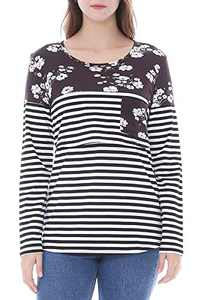 Smallshow Women's Long Sleeve Striped Maternity Nursing Tops for Breastfeeding Large SVP029