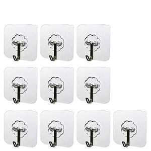 HWYYH Transparent Seamless Hooks Heavy Duty Adhesive Hooks Wall Hooks Coat Hooks Reusable Hangers Waterproof and Oilproof Utility Hooks for Bathroom,Kitchen,Room,Towel,Key,Coat,10 Pack