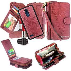 Spritech iPhone XR Case,iPhone XR Wallet Case,Luxury Detachable Magnetic Zipper Wallet Case Clutch Purse 11 Card Slots Mirror Hand Strap for Apple iPhone XR 6.1-Inch