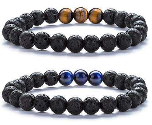 Hamoery Mens Women Bracelets Lava Stone Bracelet Aromatherapy Yoga Meditation Bracelet (Set2)