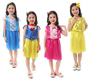 Princess Dress Up Costume Set for Girls Toddlers, Dress up Dresses Role Play Set for Little Girls Ages 3-6 Years -4 Pack