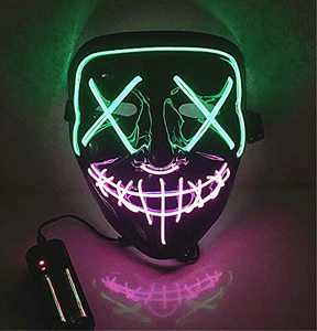 Moonideal Halloween Light Up Mask EL Wire Scary Mask for Halloween Festival Party Sound Induction Twinkling with Music Speed (Green and Pink)