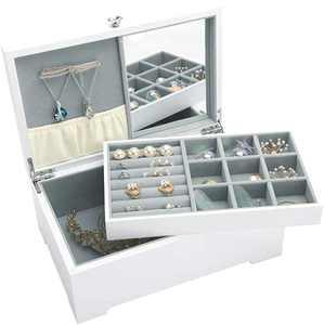 YluYni Wooden 2 Layer Jewelry Box White Jewel Organizer Display Case Necklace Rings Storage Tray for Girls Women Girlfriend, Graduation Gift