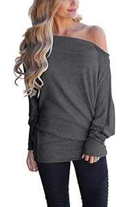 LilyCoco Womens Off Shoulder Long Sleeve Oversized Pullover Loose Tunic Tops Blouse Shirt (Small, Y3-Grey)