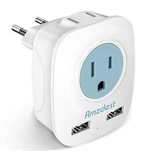 European plug adapter, Amzdest International Power Adapter with 2 USB& 2 AC Port, Adapter for US to Most European Outlets Italy Spain France Germany, 4 in 1 European Adapter for High Power Appliances