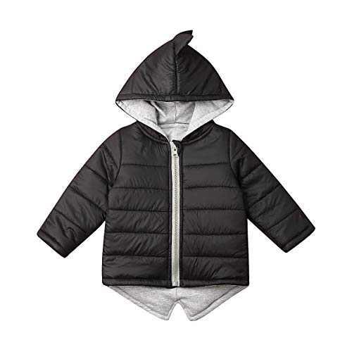 SUUGEN Toddler Baby Girl Hoodies Vest Outwear 3D Dinosaur Sleeveless Waistcoat Warm Jacket (3-4 T, Black B)
