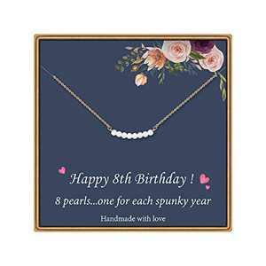 8 Year Old Girl Gifts for Birthday - Pearl Necklace 8th Birthday Gifts for Girls Happy Jewelry Birthday Gifts for8 Year Old Daughter Jewelry Gift Idea