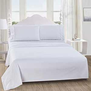 softan Queen Bed Sheet Set,1 Flat Sheet,1 Deep Pocket Fitted Sheet, and 2 Pillow Cases, 4 PC Brushed Microfiber Bedding Sheet Set, Breathable & Silky Soft Feeling Sheets(White)