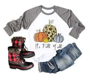 Chulianyouhuo Its Fall Yall Letter Shirt Women Thanksgiving Pumpkin Graphic Printed 3/4 Sleeve Top Grey