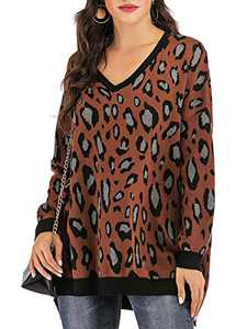 Yomoko Women's Leopard Long Sleeve V Neck Oversized Knitted Pullover Sweater Tops M Brown