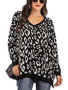 Yomoko Women's Leopard Long Sleeve V Neck Oversized Knitted Pullover Sweater Tops M Black
