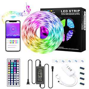 LED Strip Lights, 16.4 Ft RGB LED Lights Strip 5050 LED Tape Lights Flexible Color Changing LED Lights with APP Controller, IP65, 24 Keys IR Remote Controller for Bedroom, Home