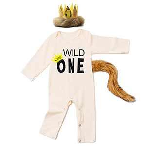 Baby Boy First Birthday Outfit Wild One Romper Halloween Costume (WILD ONE-Beige,18-24 Months)