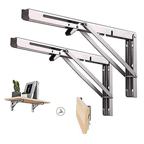 Folding Shelf Brackets 14 Inch, Heavy Duty Stainless Steel Collapsible L Angle Wall Mounted Brackets, DIY Shelves for Table Work Bench Max Load 330lb, Pack of 2 with Install Screws