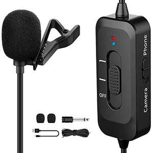 Professional Lavalier Microphone for iPhone, Camera, PC, Android, Lavalier Lapel Microphone with USB Charging, Omnidirectional Lapel Mic with Noise Reduction for Video, YouTube, Interview, Vlogging