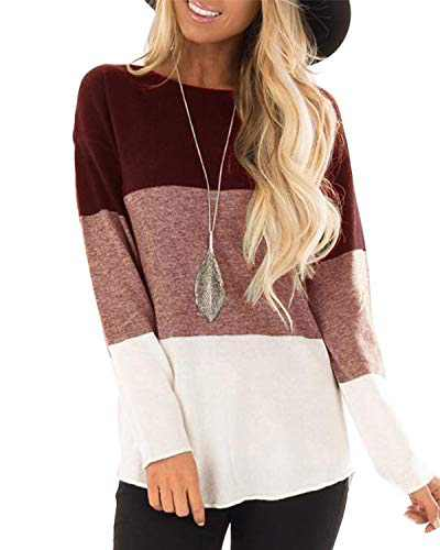 Hiistandd Women's Long Sleeve T Shirts Casual Round Neck Color Block Tunic Tops(Wine,XL)