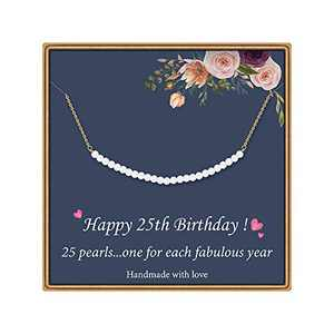 25th Birthday Gifts for Women - Pearls Pendant Necklace Personalized Birthday Gifts 25 Pearls for 25 Year Old Women Best Friends Birthday Jewelry Gifts Idea