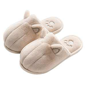Cat Slipper for Women Men's Memory Foam Fuzzy Slip on House Slippers Winter Warm Animal Slippers Furry Lined Home Indoor Shoes Beige 36/37