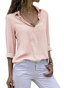 Yidarton Women's Long Sleeve V Neck Chiffon Blouses Tops Button Down Business Shirts(Pinkish Khaki,XXL)