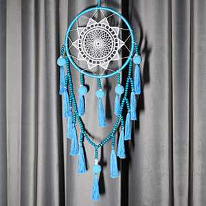 Seetop Bohemian Dream Catcher Handmade Tassel Dreamcatcher, Large Wall Hanging Decor Traditional Home Decoration with Colorful Tassel Blue