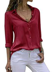 Yidarton Women's Long Sleeve V Neck Chiffon Blouses Tops Button Down Business Shirts(Wine,L)