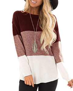 Hiistandd Women's Long Sleeve T Shirts Casual Round Neck Color Block Tunic Tops(Wine,M)