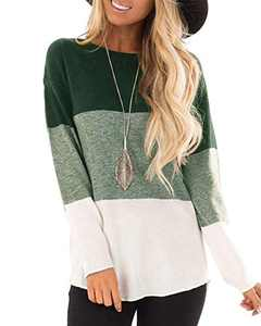 Hiistandd Women's Long Sleeve T Shirts Casual Round Neck Color Block Tunic Tops(Green,L)