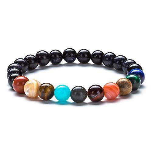 Fesciory Women Solar System Bracelet Universe Galaxy The Nine Planets Guardian Star Natural Stone Beads Bracelet Bangle for Men (Blue Sandstone(Nine Planets))