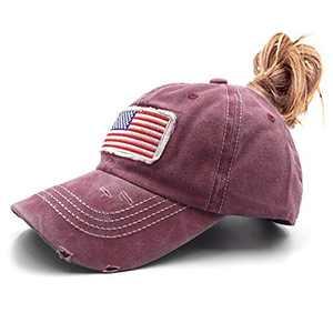 Lvaiz Womens Distressed Ponytail Baseball Caps Low Profile America Flag Messy High Bun Hat Pony Dad Hat
