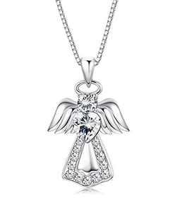 KesaPlan 925 Sterling Silver Guardian Angel Pendant Necklace for Girls Women Heart Crystal Silver Necklace for Gift, Crystals from Austria, Gift for Daughter/ Wife/ Girlfriend