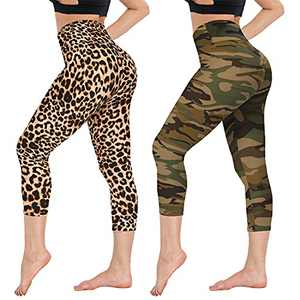CAMPSNAIL Printed Capri Leggings for Women - High Waisted Tummy Control Capris Pants Yoga Workout Athletic Cycling Tights