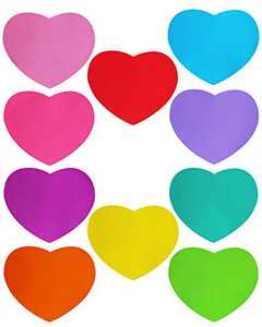 LJY 10 Pieces Heart Shaped Colorful Stickers Dry Erase Board Marker Removable Vinyl Dot Teachers Classroom Table Wall Decal (11 inch)