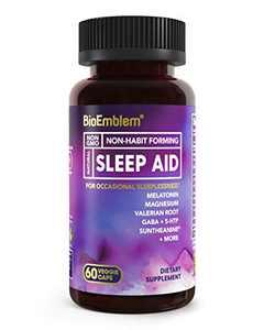 BioEmblem Natural Sleep Aid for Adults with Melatonin, Valerian Root, Suntheanine & More | Fast, Deep Sleep Supplement | Herbal Sleeping Pills | 60 Capsules