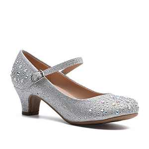 SYCO Sparkling Mary Jane Rhinestone Girl's Glitter Leatherette Formal Wedding, Dress, Dance Strappy Ankle Strap Low Heel Pumps Silver