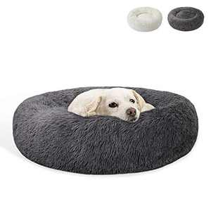 JOJEPET Calming Dog Bed Cat Bed Plush Donut - Faux Fur Pet Bed Self-Warming Donut for Small Medium Large Dogs and Cats (24-in, Grey)