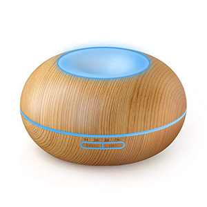 YHW Essential Oil Diffuser, 350mL Aroma Diffuser, 8 to 20 Hours Mist, Oil Mister with LED Color Changing Night Light, Waterless Auto Shut-Off, Off Timer, Home, Office, SPA, Light Wood Color