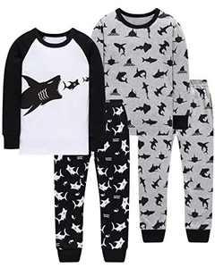 Pajamas For Boys Sharks PJs Toddler Kids Christmas Pyjamas Children Baby Clothes 4 Pack 4-Pieces Pants Set 7t