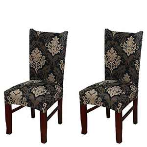 Umineux Stretch Dining Chair Covers, Printed Dining Chair Slipcovers, Removable Washable Spandex Short Chair Seat Protector for Dining Room, Hotel, Party (2 Per Set, Baroque)