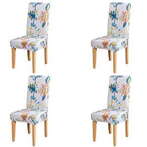 Umineux Stretch Dining Chair Covers, Printed Dining Chair Slipcovers, Removable Washable Spandex Short Chair Seat Protector for Dining Room, Hotel, Party (4 Per Set, Abutilon)