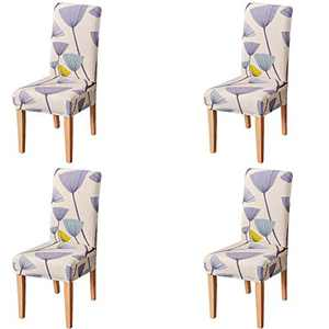 Umineux Stretch Dining Chair Covers, Printed Dining Chair Slipcovers, Removable Washable Spandex Short Chair Seat Protector for Dining Room, Hotel, Party (4 Per Set, Dandelion)